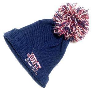 Juicy Couture Pom Pom Navy Winter Beanie Hat